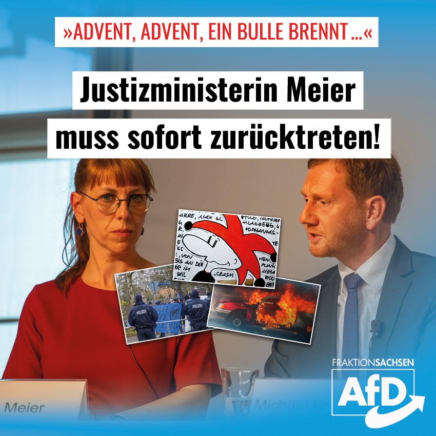 """""""Advent, Advent, ein Bulle brennt …"""": Justizministerin Meier muss sofort zurücktreten!"""