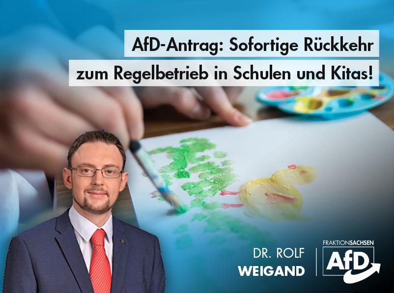 AfD-Antrag: Sofortige Rückkehr zum Regelbetrieb in Schulen und Kitas!